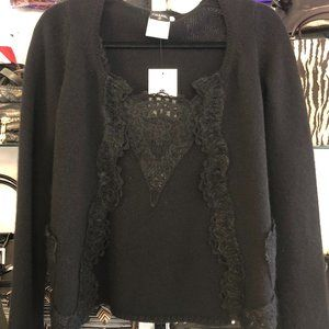 CHANEL Black Cashmere & Lace Cardigan & Shell Set